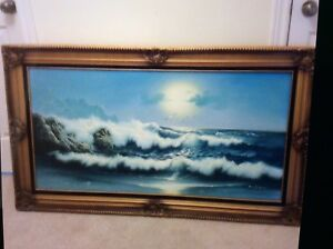 "Blue ocean oil painting in canvas 32"" X 56"" asking $130"