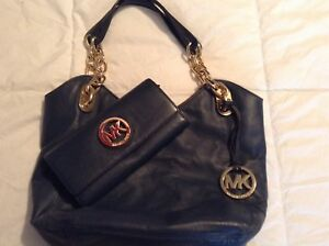 Michael Kors Navy Blue Genuine Leather Purse & Matching Wallet