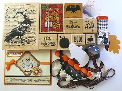 Lot HALLOWEEN rubber stamps ribbons embellishments Stampin' Up! & more