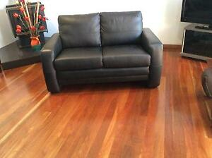 Leather two seat loungeBlack Coorparoo Brisbane South East Preview
