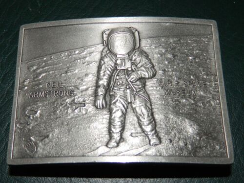 PEWTER NEIL ARMSTRONG AIR & SPACE MUSEUM BELT BUCKLE 1976 KINNEY USA RARE GREAT