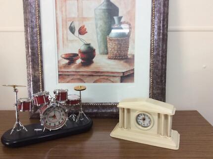 Vintage cream clock and unusual drum clock Regency Downs Lockyer Valley Preview