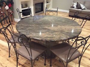 Granite Table & 6 Rot Iron Dining Chairs