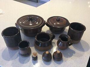 Retro Aiston Pk Pottery. Casseroles,Jugs,Utensil holders, S/P + Golden Grove Tea Tree Gully Area Preview