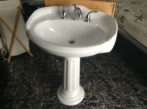 Large pedestal sink with taps