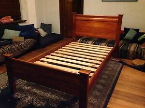Beautiful red brown wooden king size single bed frame $120 Elwood Port Phillip Preview