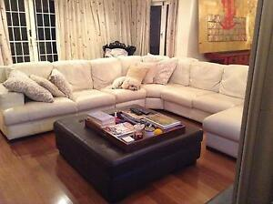 Large 100% white leather sofa with chaise Mosman Mosman Area Preview