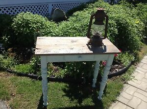 Console, table de travail, pin et bois de grange.