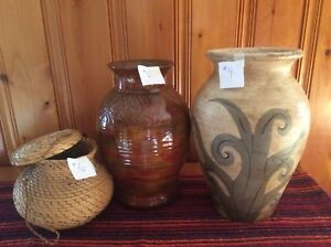 Two planter/ vases and basket with lid