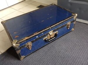 Antique Metal Trunk, Good Size For A Coffee Table Etc.