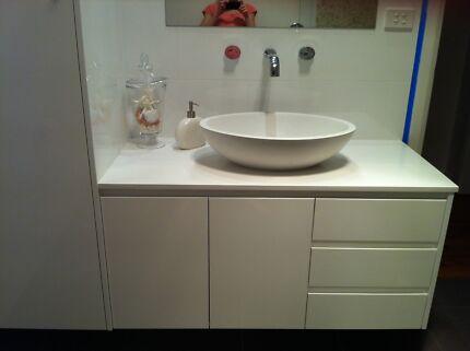 Wall hung Bathroom vanity, cupboard and accessories