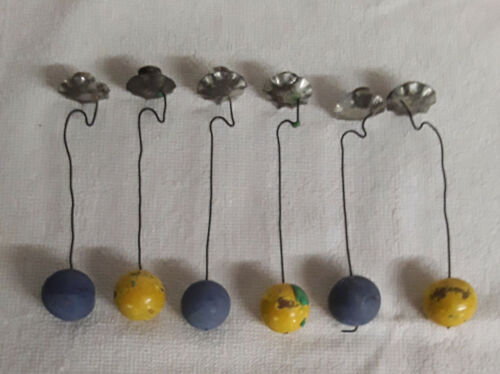 SET OF SIX VINTAGE PENDULUM CHRISTMAS CANDLE HOLDERS,BLUE AND GOLD