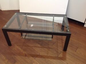 EQ3 Glass Top Coffee Table 2-tiered