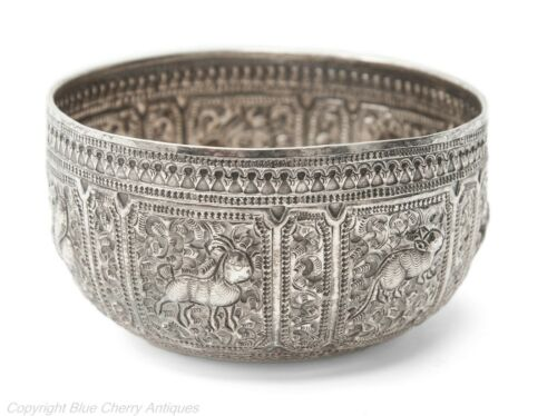 Antique Siamese Silver Thabeik Repousse Bowl with Astrological Animals