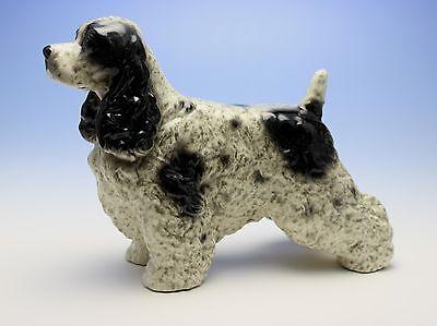 Black and White Ticked Cocker Spaniel Speckled Dog Porcelain Figurine Japan New