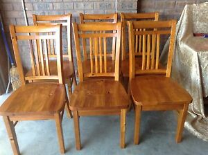 6 SOLID TIMBER BALMORAL CHAIRS $80 THE LOT. Metford Maitland Area Preview