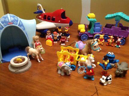 BULK LOT OF TOY PLAYSETS inc Winnie the Pooh, Sesame St, Plane set etc