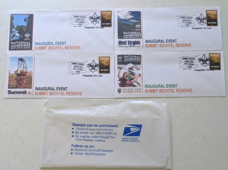 2013 National Boy Scout Jamboree First Day Cover Set BSA Stamps Inaugural Event