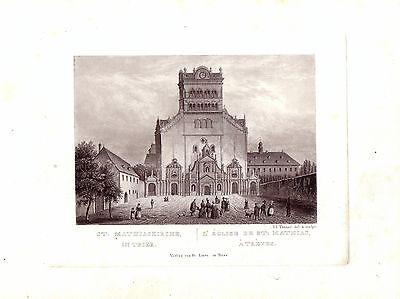 Trier St. Marthiaskirche  Rheinland Pfalz Orig Aquatinta Tanner 1840