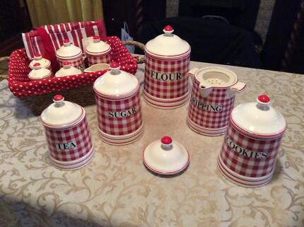 Vintage red gingham ceramic canister range. 11 pcs. Reservoir Darebin Area Preview