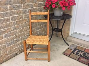 Antique caned primitive chair