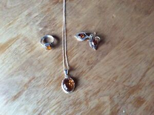 Sterling Silver  Citrine Necklace, Earrings and Ring