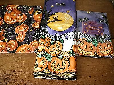 "3 Vinyl Flannel Backed Halloween tablecloth 2- 60"" round, 1- 50x66 oval"