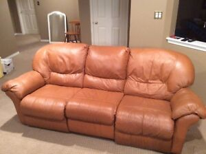 Leather recliner couch and chair