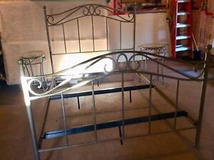 Bombay pewter brass nickle size queen bed frame and end tables