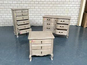 LETOILLE - FRENCH PROVINCIAL STYLE DRESSER, TALLBOY, BEDSIDE TAB Leumeah Campbelltown Area Preview