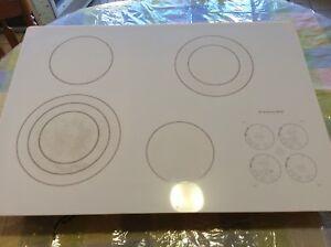 "Kitchenaid 30"" white electric cooktop"