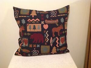 Awesome Moose,Bear,Trees 18in Decorator Pillow