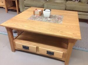 Oak Coffee Table Set With T.V Stand