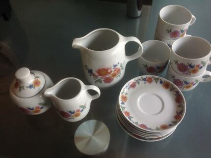 HUNGARY PORCELAIN COFFEE SET Geebung Brisbane North East Preview & Gold Edged Monno Porcelain Country Road Plates $38 set of 4 ...