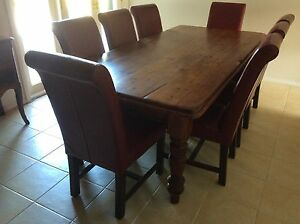 DINING ROOM SUITE, 8 LEATHER CHAIRS,  RECYCLED TIMBER TABLE Arcadia Hornsby Area Preview