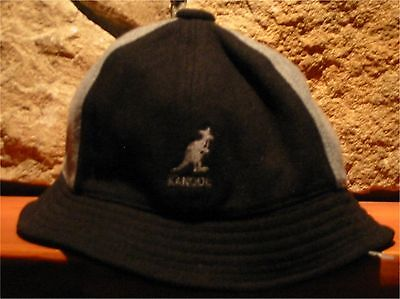 Mens Medium Kangol Panel Casual Bucket Camp Hat Grey Black Kangaroo Logo