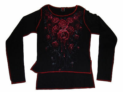 Spiral Blood Roses red stitch crop top, size small, official merchandise ()