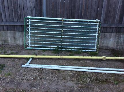 Swimming pool gate,  metal polls with connectors