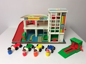 Fisher Price vintage Little People Garage with red ramp
