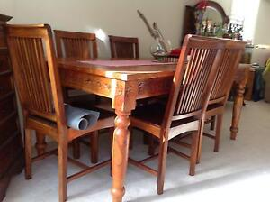 STUNNING INDONESIAN TEAK DINING TABLE/6x CHAIRS Cherrybrook Hornsby Area Preview