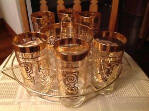9 Piece glass and ice bucket set with holder