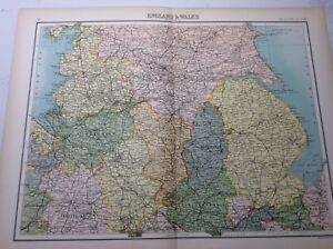 Antique Map of England and Wales (1898 section 2)