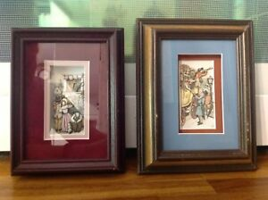 2  Victorian  Street scenes, Paper Tole Framed pictures