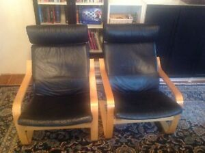 Ikea armchairs poang 2  black genuine leather chairs