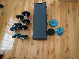 Weight set dumbbells barbells and weight bench Taylors Hill Melton Area Preview