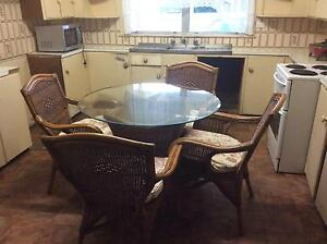Cane glass top table and 4 cane chairs Taree Greater Taree Area Preview