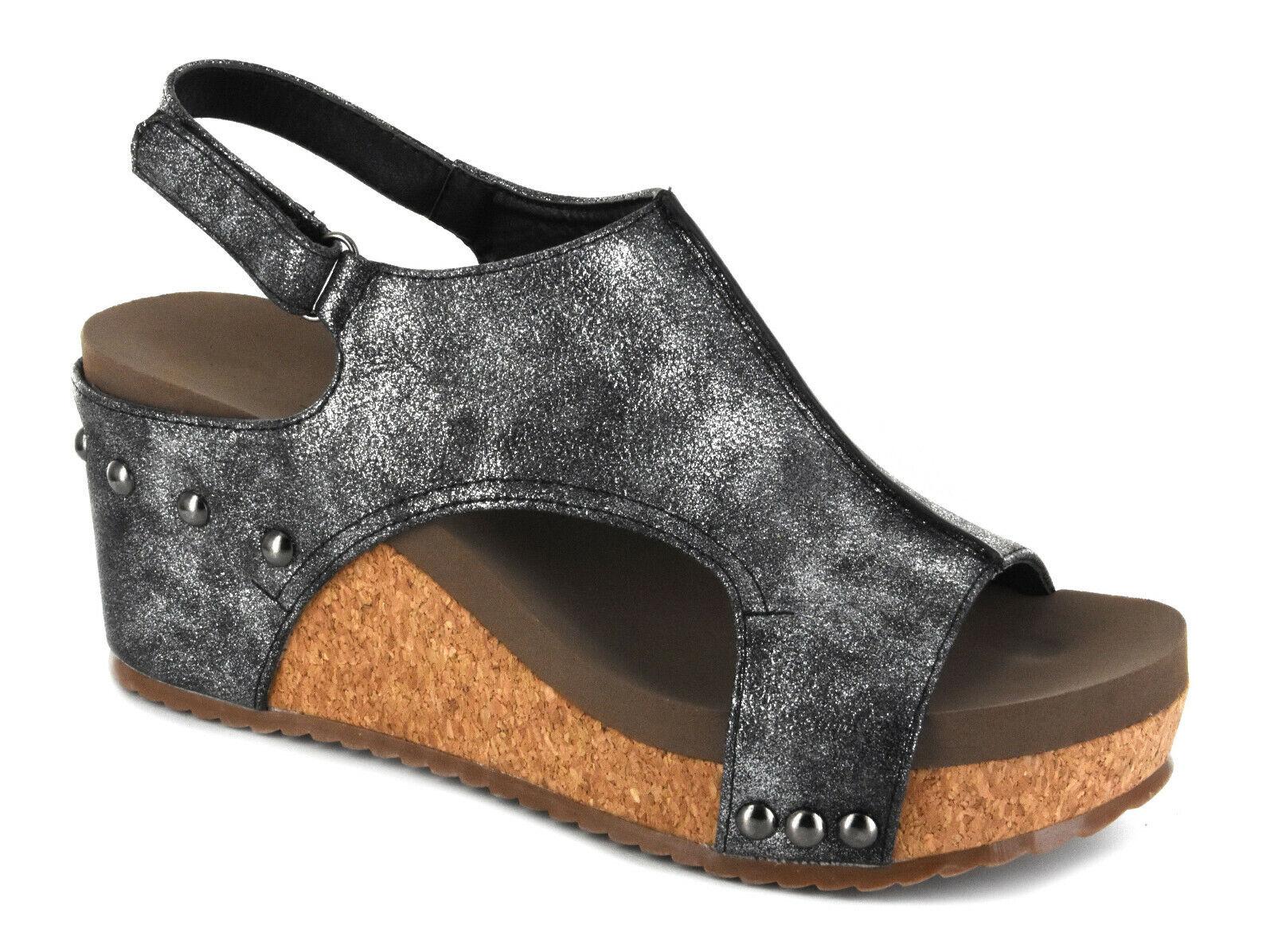 Corkys Women's Ingrid Wedge Sandals -  Black or Bronze