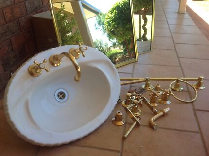colonial hand basin with brass bathroom accessories - Bathroom Accessories Newcastle Nsw