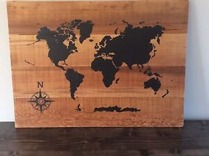 World maps HAND- PAINTED by local artist.