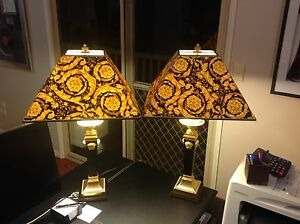 Very Rare AUTHENTIC pair of Versace Tronco Di Piramide Table Lamp Guanaba Gold Coast West Preview